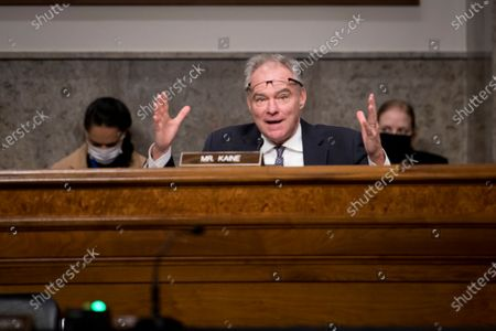 Stock Picture of United States Senator Tim Kaine (Democrat of Virginia), fields questions to Under Secretary of Defense for Acquisition and Sustainment Ellen M. Lord during a Senate Armed Services Committee - Subcommittee on Readiness and Management Support hearing to examine supply chain integrity, in the Dirksen Senate Office Building in Washington, DC.,.