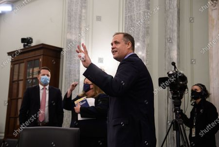 NASA Administrator Jim Bridenstine waves after testifying before the US Senate Commerce, Science and Transportation committee on Capitol Hill in Washington, DC, on September 30, 2020.
