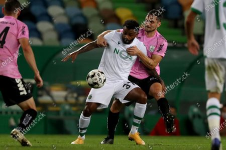Wendel (L) of Sporting CP vies with James Holland of LASK during the UEFA Europa League play-off match between Sporting CP and LASK in Lisbon, Portugal, on Oct. 1, 2020.