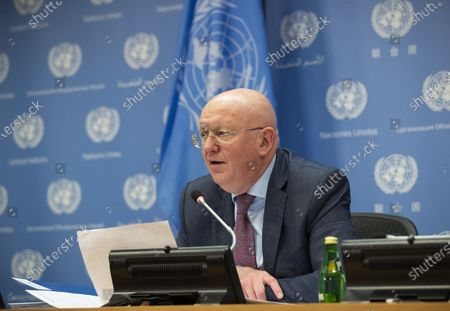 """Stock Photo of Vassily Nebenzia, the Russian ambassador to the United Nations, speaks during a press briefing at the United Nations headquarters in New York, Oct. 1, 2020. The """"snapback"""" mechanism on sanctions against Iran has not been invoked, contrary to a U.S. claim, said Vassily Nebenzia, the Russian ambassador to the United Nations, in his capacity as president of the Security Council for the month of October."""