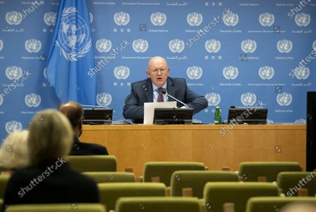 Editorial image of United Nations Russian Ambassador Press Briefing - 01 Oct 2020