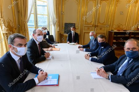 French Health and Social Affairs Minister Olivier Veran, French Prime Minister Jean Castex, French French Minister of Territorial Cohesion and Relations with Local Authorities Minister, Jacqueline Gourault, guests, Jean-Paul Jeandon, Francois Baroin and Philippe Laurent.
