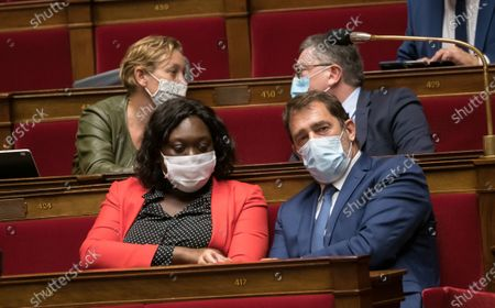 Laetitia Avia and Jean-Christophe Castaner during the weekly session of questions to the government at the national Assembly.