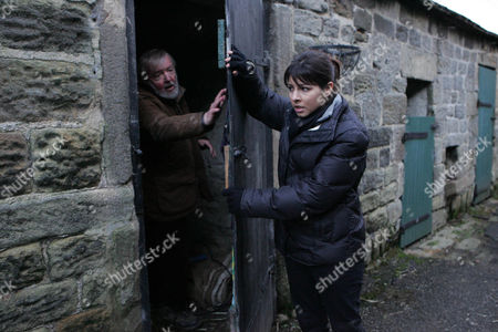 Jo Sugden [Roxanne Pallett] Pushes Mick Naylor [Tony Haygarth] into the Barn and Locks the Door.