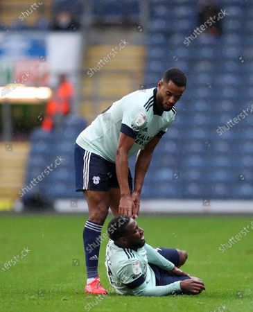 Junior Hoilett of Cardiff City reacts after being injured; Ewood Park, Blackburn, Lancashire, England; English Football League Championship Football, Blackburn Rovers versus Cardiff City.