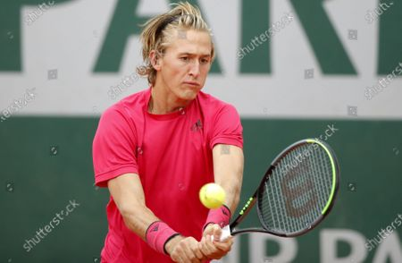 Sebastian Korda of the USA in action against Pedro Martinez of Spain during their men's third round match during the French Open tennis tournament at Roland Garros in Paris, France, 02 October 2020.