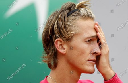 Sebastian Korda of the USA reacts as he plays Pedro Martinez of Spain during their men's third round match during the French Open tennis tournament at Roland Garros in Paris, France, 02 October 2020.