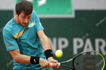 Pedro Martinez of Spain in action against Sebastian Korda of the USA during their men's third round match during the French Open tennis tournament at Roland Garros in Paris, France, 02 October 2020.