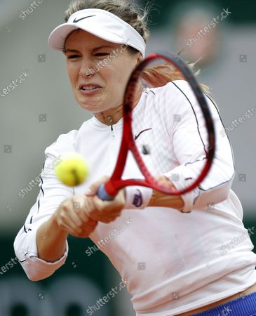 Eugenie Bouchard of Canada in action against Iga Swiatek of Poland during their women's third round match during the French Open tennis tournament at Roland Garros in Paris, France, 02 October 2020.