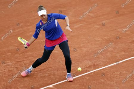Barbora Krejcikova of the Czech Republic in action against Tsvetana Pironkova of Bulgaria during their women's third round match during the French Open tennis tournament at Roland Garros in Paris, France, 02 October 2020.