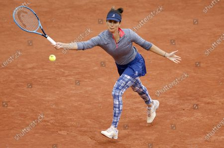 Tsvetana Pironkova of Bulgaria in action against Barbora Krejcikova of the Czech Republic during their women's second round match during the French Open tennis tournament at Roland Garros in Paris, France, 02 October 2020.