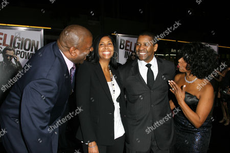 Stock Image of Magic Johnson, Cookie Johnson, Denzel Washington and Paulette Washington