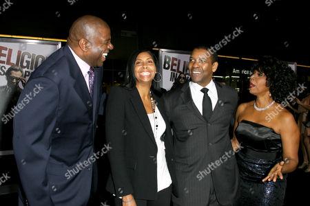 Magic Johnson, Cookie Johnson, Denzel Washington and Paulette Washington