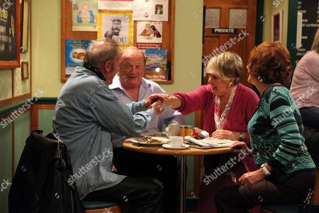 Alan Turner [Richard Thorpe] Bumps into Old Friend Eddie Fox [Paul Darrow] in the Café