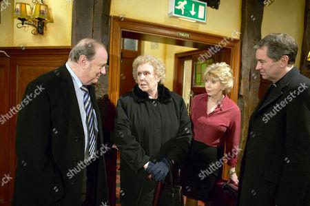 Annie Sugden [Sheila Mercier] Arrives From Spain.  Also Pictured Alan Turner [Richard Thorp], Diane Sugden [Elizabeth Estensen], Rev Ashley Thomas [John Middleton]