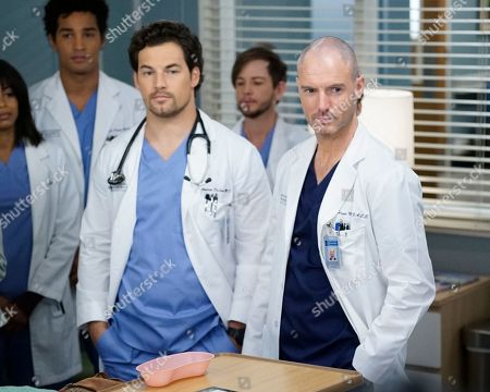 Giacomo Gianniotti as Dr. Andrew DeLuca and Richard Flood as Dr. Cormac Hayes