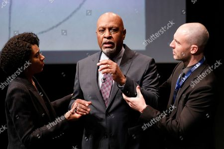 Stock Photo of Kelly McCreary as Dr. Maggie Pierce, James Pickens Jr. as Dr. Richard Webber and Richard Flood as Dr. Cormac Hayes