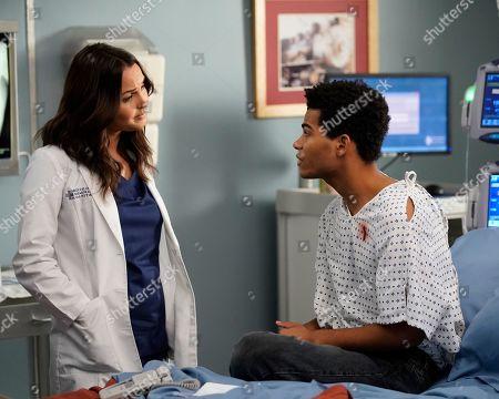 Camilla Luddington as Dr. Jo Karev and Noah Alexander Gerry as Joey Phillips