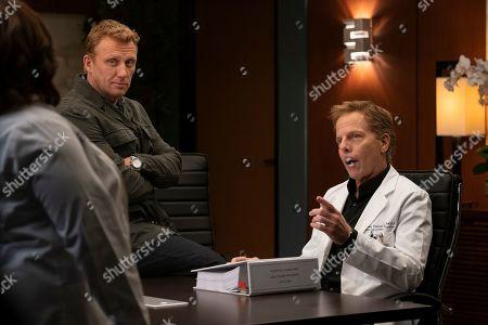 Kevin McKidd as Dr. Owen Hunt and Greg Germann as Dr. Thomas Koracick