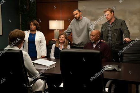 Stock Image of Chandra Wilson as Dr. Miranda Bailey, Ellen Pompeo as Dr. Meredith Grey, Jesse Williams as Dr. Jackson Avery, James Pickens Jr. as Dr. Richard Webber and Kevin McKidd as Dr. Owen Hunt