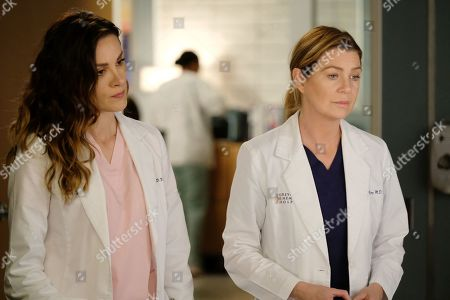 Stefania Spampinato as Dr. Carina DeLuca and Ellen Pompeo as Dr. Meredith Grey
