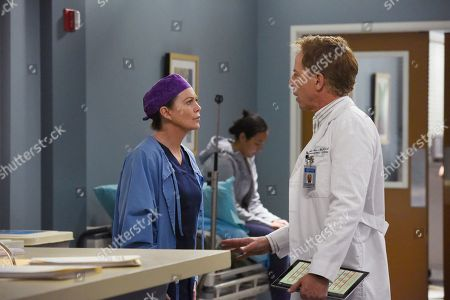 Ellen Pompeo as Dr. Meredith Grey and Greg Germann as Dr. Thomas Koracick