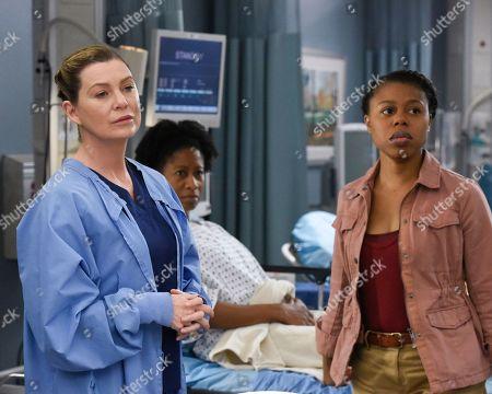 Ellen Pompeo as Dr. Meredith Grey and Gail Bean as Caitlin Freeman