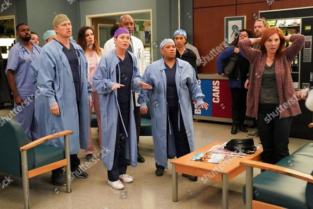 Stock Photo of Kevin McKidd as Dr. Owen Hunt, James Pickens Jr. as Dr. Richard Webber, Chandra Wilson as Dr. Miranda Bailey and Stephanie Kurtzuba as Opal