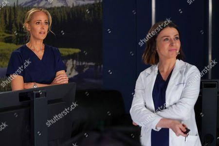 Kim Raver as Dr. Teddy Altman and Caterina Scorsone as Dr. Amelia Shepherd