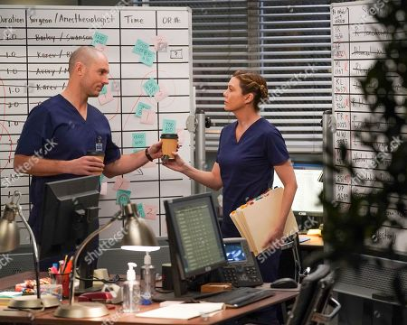 Richard Flood as Dr. Cormac Hayes and Ellen Pompeo as Dr. Meredith Grey