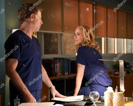 Greg Germann as Dr. Thomas Koracick and Kim Raver as Dr. Teddy Altman