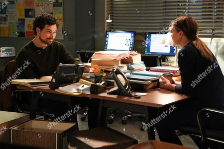 Giacomo Gianniotti as Dr. Andrew DeLuca and Ellen Pompeo as Dr. Meredith Grey
