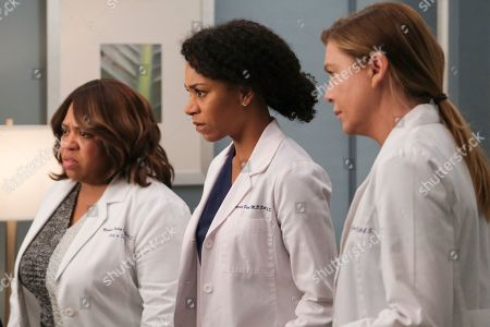 Chandra Wilson as Dr. Miranda Bailey, Kelly McCreary as Dr. Maggie Pierce and Ellen Pompeo as Dr. Meredith Grey