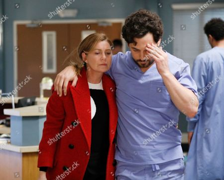 Ellen Pompeo as Dr. Meredith Grey and Giacomo Gianniotti as Dr. Andrew DeLuca