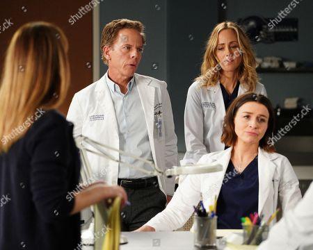 Greg Germann as Dr. Thomas Koracick, Kim Raver as Dr. Teddy Altman and Caterina Scorsone as Dr. Amelia Shepherd