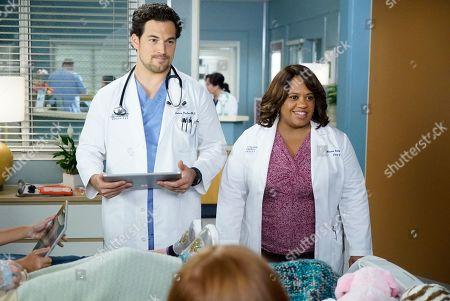 Giacomo Gianniotti as Dr. Andrew DeLuca and Chandra Wilson as Dr. Miranda Bailey