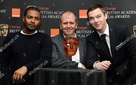 Noel Clarke, Chairman of BAFTA David Parfitt and Nicholas Hoult