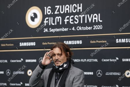 Johnny Depp poses on the Green Carpet during the 16th Zurich Film Festival (ZFF) in Zurich, Switzerland, 02 October 2020. The festival runs from 24 September to 04 October 2020.