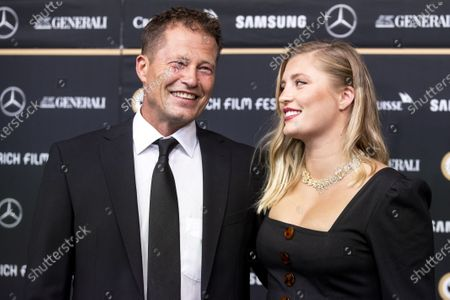 Stock Picture of Til Schweiger (L) and Luna Schweiger (R) pose on the Green Carpet during the 16th Zurich Film Festival (ZFF) in Zurich, Switzerland, 02 October 2020. The festival runs from 24 September to 04 October 2020.