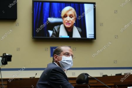 United States Representative Carolyn Maloney (Democrat of New York), speaks virtually as US Secretary of Health and Human Services Alex Azar testifies to the US House Select Subcommittee on the Coronavirus Crisis, on Capitol Hill in Washington,.