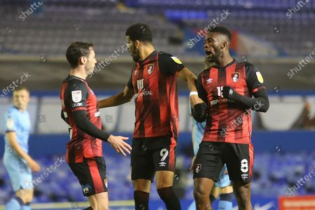 GOAL 0-1 AFC Bournemouth midfielder Jefferson Lerma (8) scores a goal and celebrates during the EFL Sky Bet Championship match between Coventry City and Bournemouth at the Trillion Trophy Stadium, Birmingham