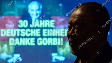 Ai Weiwei during dinner for the 30th anniversary of the German Reunification at Borchardt restaurant in Berlin, Germany, 02 October 2020. Cinema for Peace foundation invited supporters to announce an artistic memorial in commemoration of former Soviet president Mikhail Gorbachev as one of the acting persons in the German unity.