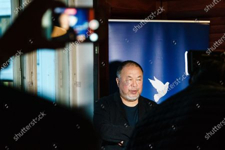 Ai Weiwei gives an interview during dinner for the 30th anniversary of the German Reunification at Borchardt restaurant in Berlin, Germany, 02 October 2020. Cinema for Peace foundation invited supporters to announce an artistic memorial in commemoration of former Soviet president Mikhail Gorbachev as one of the acting persons in the German unity.