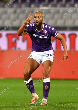 Fiorentina's Sofyan Amrabat reacts during the Italian Serie A soccer match between ACF Fiorentina and UC Sampdoria at the Artemio Franchi stadium in Florence, Italy, 02 October 2020.