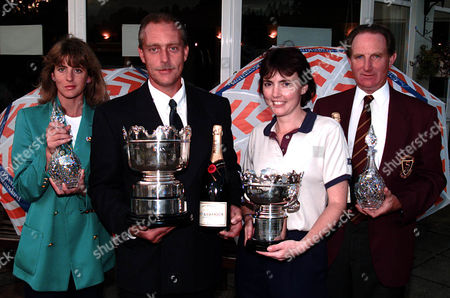 Evening Standard 1998 Amateur Golf Finals At West Byfleet. L-r Ladies Captains Competition Winner Diane Weaver Of Thorney Park Men's Champion Carpenter Peter Denton From Tilgate Forest Ladies Champion Kathryn Laird From Millbrook And Mens Captains Competition Winner John Gill From Sonning.