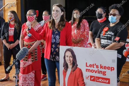 New Zealand Prime Minister Jacinda Ardern speaks to supporters as she visits a NZ Labour Party South Auckland Get Out The Vote event at Sir Edmund Hillary Collegiate, in Auckland, New Zealand, 03 October 2020. The 2020 New Zealand general election will be held on 17 october 2020.