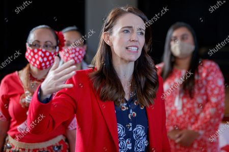 Stock Photo of New Zealand Prime Minister Jacinda Ardern visits a NZ Labour Party South Auckland Get Out The Vote event at Sir Edmund Hillary Collegiate, in Auckland, New Zealand, 03 October 2020. The 2020 New Zealand general election will be held on 17 october 2020.