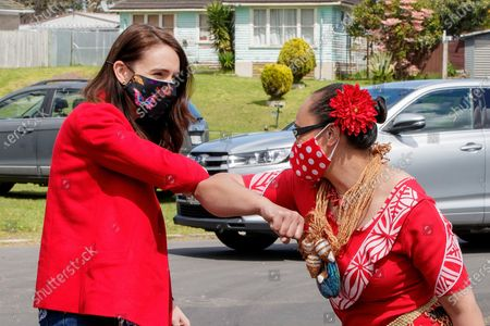 Stock Image of New Zealand Prime Minister Jacinda Ardern (L) is greeted by Jenny Salesa (R), candidate for Panmure-Otahuhu, as the prime minister visits a NZ Labour Party South Auckland Get Out The Vote event at Sir Edmund Hillary Collegiate, in Auckland, New Zealand, 03 October 2020. The 2020 New Zealand general election will be held on 17 october 2020.