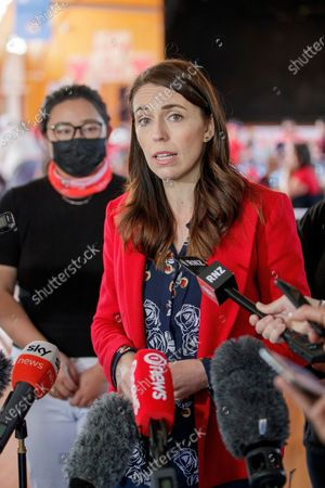 New Zealand Prime Minister Jacinda Ardern speaks to the media as she visits a NZ Labour Party South Auckland Get Out The Vote event at Sir Edmund Hillary Collegiate, in Auckland, New Zealand, 03 October 2020. The 2020 New Zealand general election will be held on 17 october 2020.