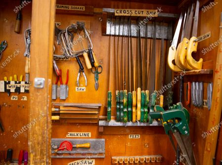 Tools line in a storage case at the Elm Street School workshop in Nashua, New Hampshire, USA, 02 October 2020. Physical Education teacher John Barry started building the desks after seeing several of his students during online classes, working from kitchen tables, bedroom floors, and even a closet. He and fellow science teacher Dan Scarpeti, found an inexpensive desk plan and started making the desks, and other teachers soon joined in. As of this date, several thousand dollars have been pledged and the group plans to make desks for all students in need.